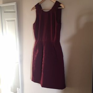 Cranberry Madewell layered dress with pockets